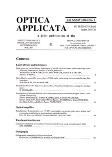 Optica Applicata, Vol. 34, 2004, nr 1