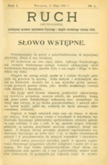 Ruch :  dwutygodnik, poświęcony sprawom wychowania fizycznego i w ogóle normalnego rozwoju ciała, 1906.05.11 R. 1 nr 1