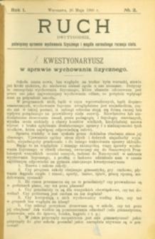 Ruch :  dwutygodnik, poświęcony sprawom wychowania fizycznego i w ogóle normalnego rozwoju ciała, 1906.05.26 R. 1 nr 2