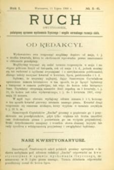 Ruch :  dwutygodnik, poświęcony sprawom wychowania fizycznego i w ogóle normalnego rozwoju ciała, 1906.07.11 R. 1 nr 5-6
