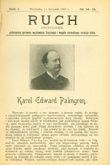 Ruch :  dwutygodnik, poświęcony sprawom wychowania fizycznego i w ogóle normalnego rozwoju ciała, 1906.11.11 R. 1 nr 14-15