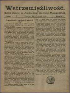 """Wstrzemięźliwość : dodatek miesięczny do """"Posłańca Niedzielnego"""" dla Bractwa Wstrzemięźliwości. R. 5 (1904), nr 7"""