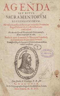 [Agenda ad uniformem ecclesiarum per universas provincias Regni Poloniae usum. Cz. 1]