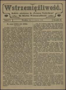 """Wstrzemięźliwość : dodatek miesięczny do """"Posłańca Niedzielnego"""" dla Bractwa Wstrzemięźliwości. R. 9 (1908), nr 5"""