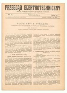 Przegląd Elektrotechniczny. Rok XII, 1 Października 1930, Zeszyt 19