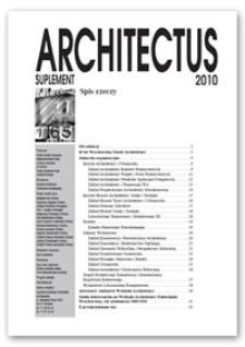 Architectus : Pismo Wydziału Architektury Politechniki Wrocławskiej, 2010. Suplement