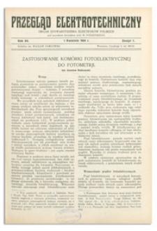 Przegląd Elektrotechniczny. Rok XV, 1 Kwietnia 1933, Zeszyt 7