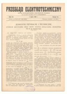 Przegląd Elektrotechniczny. Rok XV, 1 Lipca 1933, Zeszyt 13