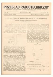 Przegląd Radjotechniczny. Rok XI, 15 Października 1933, Zeszyt 19-20