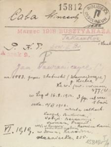 [Legiony Polskie. Kartoteka legionistów internowanych w 1918 r. na Węgrzech i w Polsce. Pudło 2: Lit. C-E]