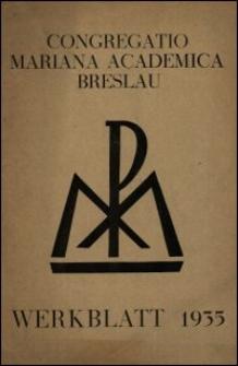 Werkblatt 1935 / Congregatio Mariana Academica Breslau