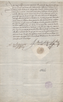 Jacek Młodziejowski, podskarbi nadworny koronny i Sebastian Lubomirski, starosta dobczycki, zobowiązują się oddać pożyczoną od Grzegorza kwotę 100 zł w dniu św. Jadwigi tego roku