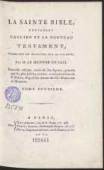 La Sainte Bible Contenant L'Ancien Et Le Nouveau Testament […]. T. 12