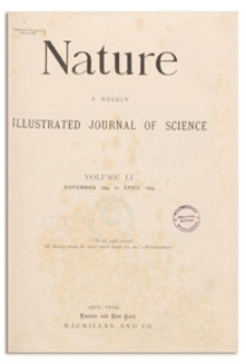 Nature : a Weekly Illustrated Journal of Science. Volume 51, 1895 January 3, [No. 1314]