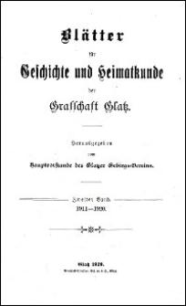 Blätter für Geschichte und Heimatskunde der Grafschaft Glatz. Bd. 2, 1911-1920
