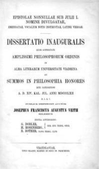 Epistolae nonnullae sub Julii I. nomine divulgatae : emendatae, vocalium notis instructae, latine versae : dissertatio inauguralis