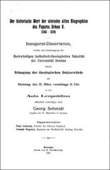 Der historische Wert der vierzehn alten Biographien des Papstes Urban V. (1362-1370) : Inaugural-Dissertation