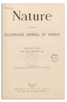 Nature : a Weekly Illustrated Journal of Science. Volume 58, 1898 September 29, [No. 1509]