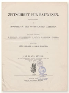 Zeitschrift für Bauwesen, Jr. XXXVIII, 1888, H. 1-3