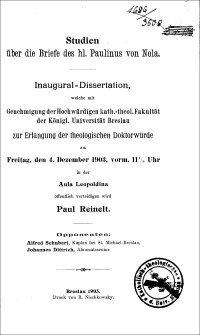 Studien über die Briefe des hl. Paulinus von Nola : Inaugural-Dissertation [...] zur Erlangung der theologischen Doktorwürde