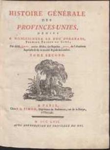 Histoire Générale Des Provinces-Unies [...] T.2