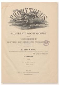 Prometheus : Illustrierte Wochenschrift über die Fortschritte in Gewerbe, Industrie und Wissenschaft. 20. Jahrgang, 1908, Nr 1000