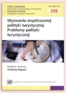 Polityka turystyczna w oddziaływaniu na branżę turystyczną. Prace Naukowe Uniwersytetu Ekonomicznego we Wrocławiu = Research Papers of Wrocław University of Economics, 2012, Nr 259, s. 285-295