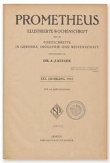 Prometheus : Illustrierte Wochenschrift über die Fortschritte in Gewerbe, Industrie und Wissenschaft. 30. Jahrgang, 1919, Nr 1518