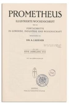 Prometheus : Illustrierte Wochenschrift über die Fortschritte in Gewerbe, Industrie und Wissenschaft. 27. Jahrgang, 1916, Nr 1370