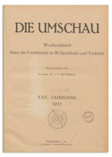 Die Umschau : Wochenschschrift über die Fortschritte in Wissenschaft und Technik. 25. Jahrgang, 1921, Nr 30