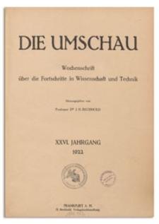 Die Umschau : Wochenschschrift über die Fortschritte in Wissenschaft und Technik. 26. Jahrgang, 1922, Nr 4