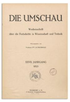 Die Umschau : Wochenschschrift über die Fortschritte in Wissenschaft und Technik. 27. Jahrgang, 1923, Nr 23