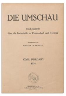 Die Umschau : Wochenschschrift über die Fortschritte in Wissenschaft und Technik. 28. Jahrgang, 1924, Heft 4