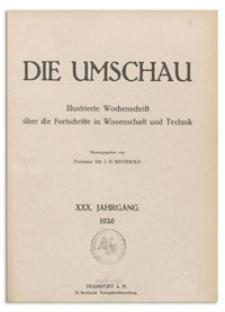 Die Umschau : Wochenschschrift über die Fortschritte in Wissenschaft und Technik. 30. Jahrgang, 1926, Heft 2