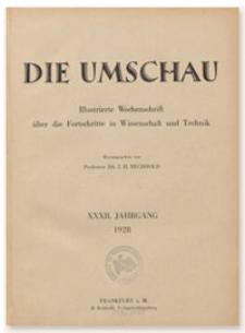 Die Umschau : Illustrierte Wochenschschrift über die Fortschritte in Wissenschaft und Technik. 32. Jahrgang, 1928, Heft 35