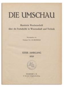 Die Umschau : Illustrierte Wochenschschrift über die Fortschritte in Wissenschaft und Technik. 33. Jahrgang, 1929, Heft 5