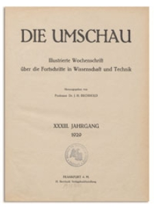 Die Umschau : Illustrierte Wochenschschrift über die Fortschritte in Wissenschaft und Technik. 33. Jahrgang, 1929, Heft 10