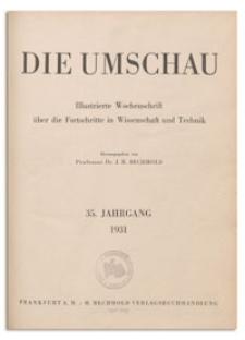 Die Umschau : Illustrierte Wochenschschrift über die Fortschritte in Wissenschaft und Technik. 35. Jahrgang, 1931, Heft 4