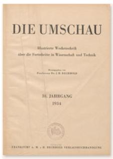 Die Umschau : Illustrierte Wochenschschrift über die Fortschritte in Wissenschaft und Technik. 38. Jahrgang, 1934, Heft 21