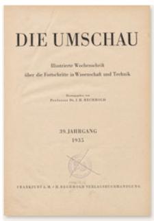 Die Umschau : Illustrierte Wochenschschrift über die Fortschritte in Wissenschaft und Technik. 39. Jahrgang, 1935, Heft 53