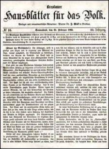 Breslauer Hausblätter für das Volk. Jg. 3, Nr. 16 (1865)