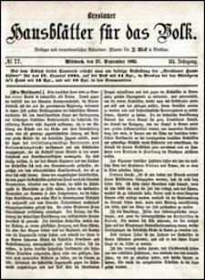 Breslauer Hausblätter für das Volk. Jg. 3, Nr. 77 (1865)