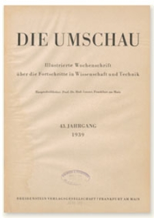 Die Umschau : Illustrierte Wochenschschrift über die Fortschritte in Wissenschaft und Technik. 43. Jahrgang, 1939, Heft 14