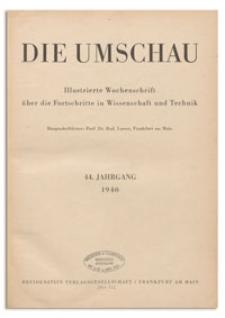 Die Umschau : Illustrierte Wochenschschrift über die Fortschritte in Wissenschaft und Technik. 44. Jahrgang, 1940, Heft 1