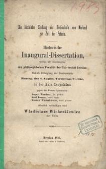 Die kirchliche Stellung der Erzbischöfe von Mailand zur Zeit der Pataria : historische Inaugural-Dissertation