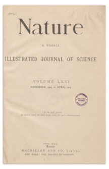Nature : a Weekly Illustrated Journal of Science. Volume 71, 1904 November 3, [No. 1827]