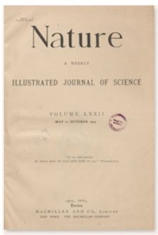 Nature : a Weekly Illustrated Journal of Science. Volume 72, 1905 October 12, [No. 1876]
