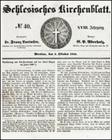 Schlesisches Kirchenblatt. Jg. 18, Nr. 40 (1852) + Beilage