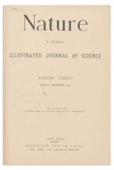 Nature : a Weekly Illustrated Journal of Science. Volume 84, 1910 July 21, [No. 2125]