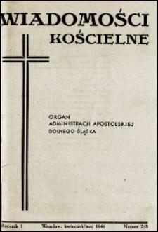 Wiadomości Kościelne. R. 1, 1946, nr 7-8